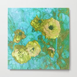 Yellow Roses Aqua Green Metal Print