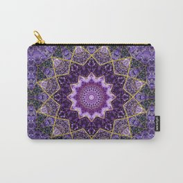 Amethyst and Gold Kaleidoscope  Mandala Carry-All Pouch