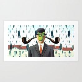 Ear Smoking Apple Guy Standing in the Man Rain Art Print