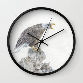 Bald eagle in winter snow Wall Clock