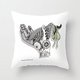Zentangle Illustration - Peace Dove  Throw Pillow