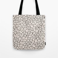 flower pattern Tote Bags featuring A Lot of Cats by Kitten Rain