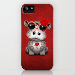 Red Day of the Dead Sugar Skull Hippo Baby iPhone Case