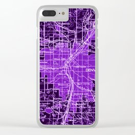 Denver Colorado map, year 1958, purple filter Clear iPhone Case