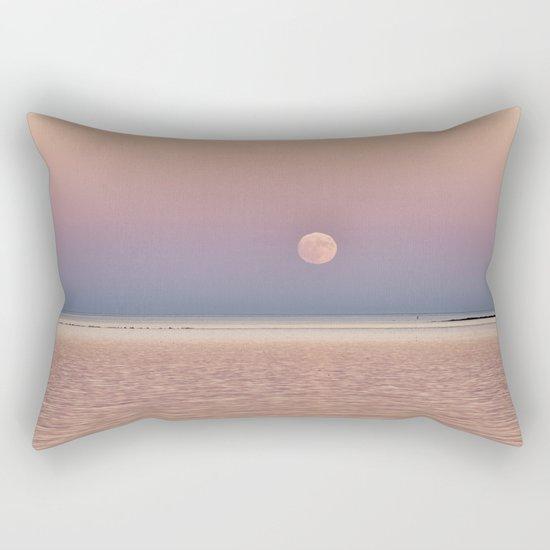 Full Moon rising over the ocean Rectangular Pillow