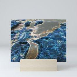 Abstract rock pool and sand on a beach Mini Art Print