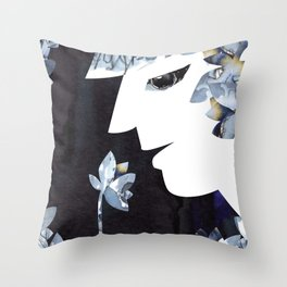 Portrait of a Woman Smelling Flowers Throw Pillow