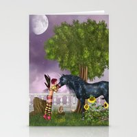 the last unicorn Stationery Cards featuring The Last Black Unicorn by Simone Gatterwe