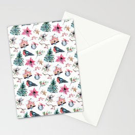 Christmas watercolor pattern. Stationery Cards