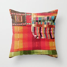 V27 Multi Colored Traditional Moroccan Lovely Textile Texture. Throw Pillow