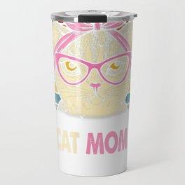Vintage Best Cat Mom Ever T-Shirt Cat Mama Mother Gift Women Travel Mug