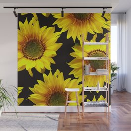 Large Sunflowers on a black background #decor #society6 #buyart Wall Mural