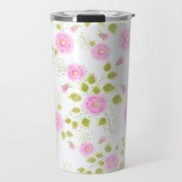 Pink flowers on a white background Travel Mug