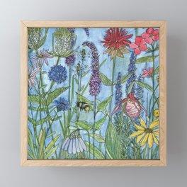 Watercolor Garden Flower Botanical Wildflowers Lady Slipper Orchid Framed Mini Art Print