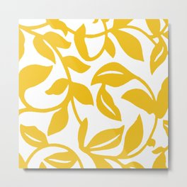 PALM LEAF VINE LEAF YELLOW PATTERN Metal Print