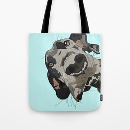Great Dane in your face (teal) Tote Bag