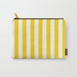 Narrow Vertical Stripes - White and Gold Yellow Carry-All Pouch