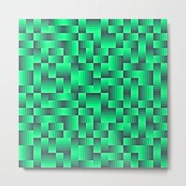 Deep Sea Green Geo Pattern Metal Print