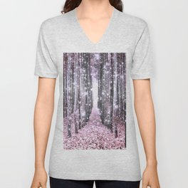 Magical Forest Pink Gray Elegance Unisex V-Neck
