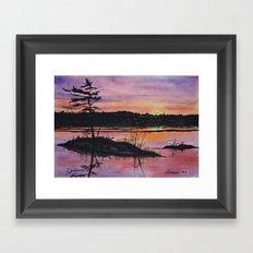 Maine Orange Sunrise Print  Framed Art Print