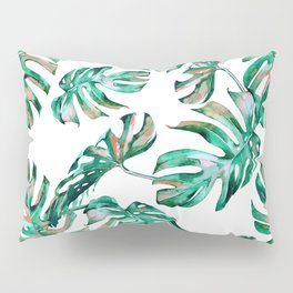 Green Coral Palm Leaves Pillow Sham