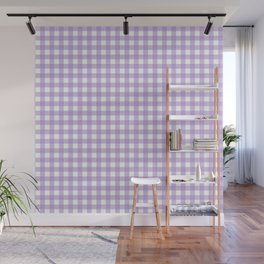 Chic Lilac Purple Gingham Wall Mural