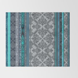Teal, Aqua & Grey Vintage Bohemian Wallpaper Stripes Throw Blanket
