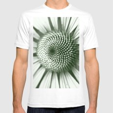 Black and White Flower Core White SMALL Mens Fitted Tee