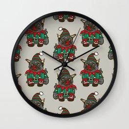 Elf puppy pug Wall Clock