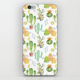 Modern green yellow geometric watercolor cactus pattern iPhone Skin