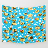 bees Wall Tapestries featuring Busy Bees by Bobsmade