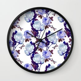 Midnight Roses Wall Clock