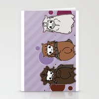 nori Stationery Cards featuring Dwarpaca family #3 by Lady Cibia
