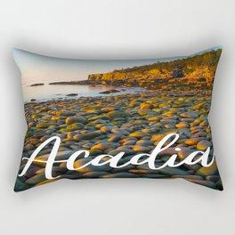 Acadia National Park Rocky Beach Sunrise Text Print Rectangular Pillow