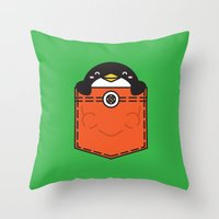 pocket Throw Pillows featuring Pocket Penguin by Steven Toang