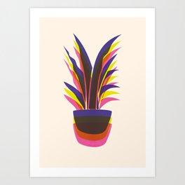 Spiky Plant (three colour mix) Art Print