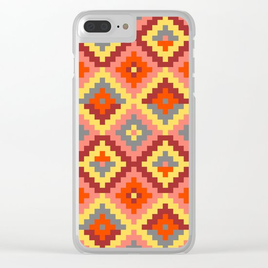 Aztec pattern - brown, rose, yellow Clear iPhone Case