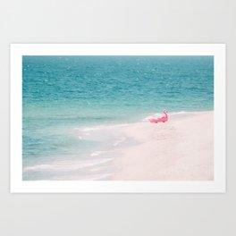 Pink Flamingo Beach Art Print