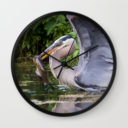 Heron and bullhead take-off Wall Clock
