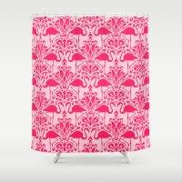 damask Shower Curtains featuring Flamingo Damask by Jacqueline Maldonado
