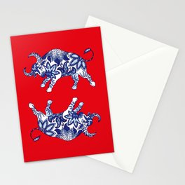Ox Paisley (Blue and Red Palette) Stationery Cards