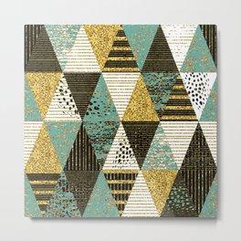 Modern Geometric Triangles Glitter and Lines Pattern Metal Print