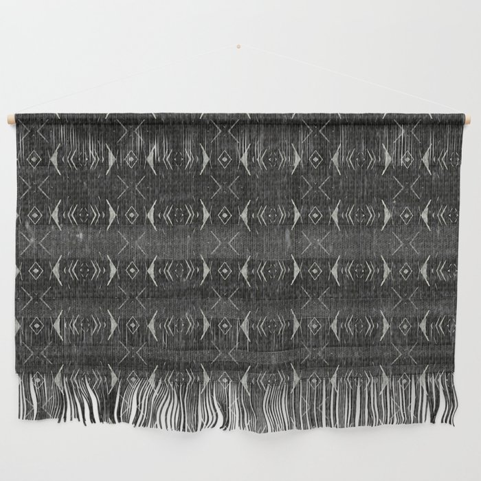 Charcoal Textured Ethnic Tribal Print Wall Hanging