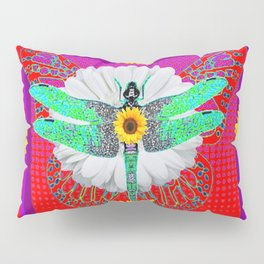 GREEN DRAGONFLY FLORAL RED & PURPLE Pillow Sham