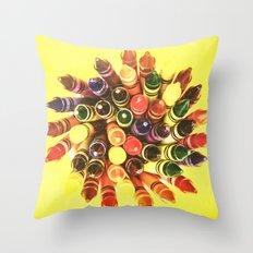 Crayon Love: Crayon Bouquet Throw Pillow