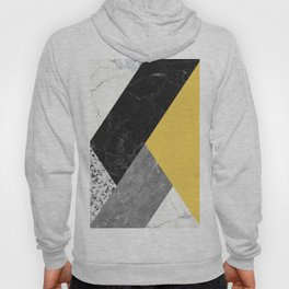 Black and White Marbles and Pantone Primrose Yellow Color Hoody