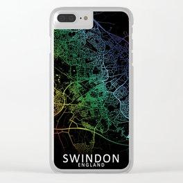 Swindon, England, City, Map, Rainbow, Map, Art, Print Clear iPhone Case