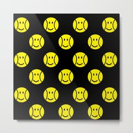 Tennis ball, pattern of yellow smiley faces on black background Metal Print