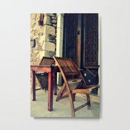 chair and table Metal Print