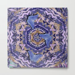 Butterflies against an abstract floral kaleidoscope Metal Print